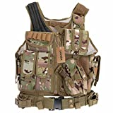 Lixada Tactical Vest Military Airsoft Vest Adjustable Breathable Combat Training Vest for Outdoor Hunting,Fishing,Army Fans,CS War Game,Survival Game, Combat Training For Sale