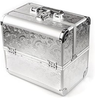 Beauty Case plateado con decoración de flores - estuche de maquillaje - estuche de maquillaje - estuche de aluminio: Amazon.es: Belleza