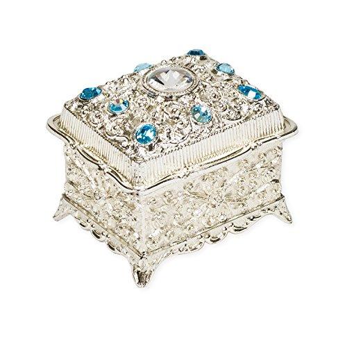 Blue Jeweled Trunk Shaped Jeweled Silver Tone Metal Music Box Plays Memory