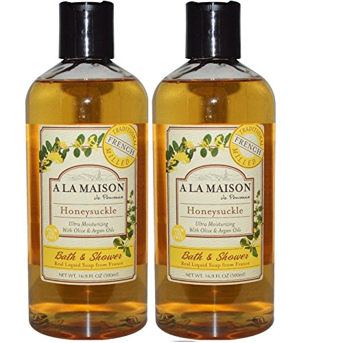 A La Maison de Provence Honeysuckle Liquid Bath and Shower Soap (Pack of 2) With Coconut Oil, Olive Oil and Vitamin E, 16.9 fl oz Each