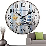 Gorgeous Beach House Wooden Wall Clock | Great Color for Home or Office | Large Decorative