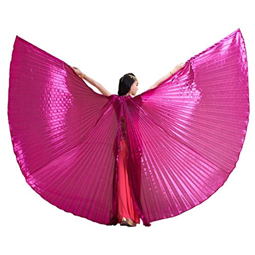 [Pilot-trade Women's 2 Stick Belly Dance Costume Bifurcate Isis Wings Dark pink] (Dark Fairy Wings Costume)