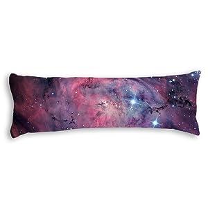 Ailovyo Space Nebula Universe Pattern Retro Galaxy Tribal Machine Washable Silky Shiny Satin Decorative Body Pillow Case Cover, 20-Inch x 54-Inch …