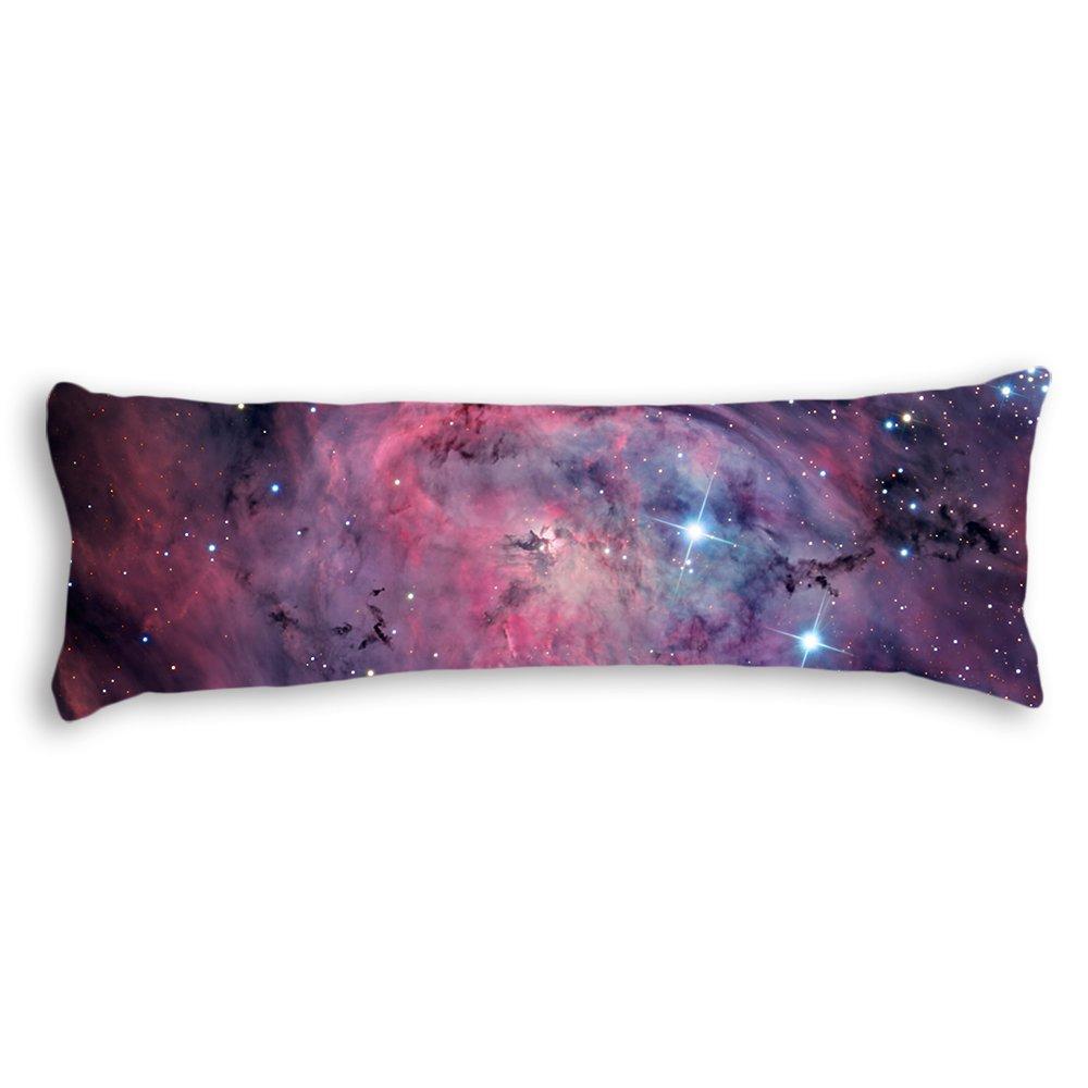 AILOVYO Space Nebula Universe Pattern Retro Galaxy Tribal Machine Washable Silky Shiny Satin Decorative Body Pillow Case Cover, 20-Inch x 54-Inch
