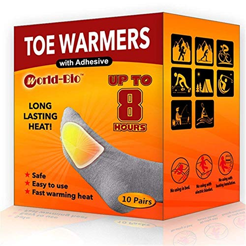 WORLD-BIO Toe Warmers - Long Lasting Safe Natural Odorless Air Activated Warmers - Up to 8 Hours of Heat - 10 Pairs(20 Total)