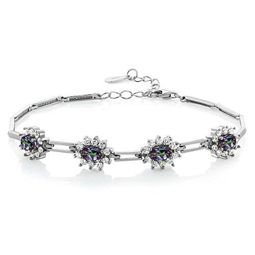 Gem Stone King 925 Sterling Silver Oval Green Mystic Topaz Bracelet 4.20 Ctw 7 Inch with 1 Inch Extender