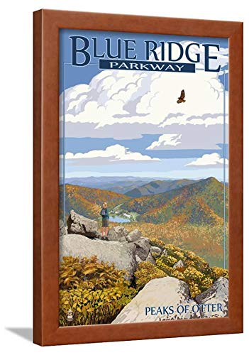 ArtEdge Blue Ridge Parkway-Peaks of Otter in Fall Brown Wall Art Framed Print, 24x16, Unmatted