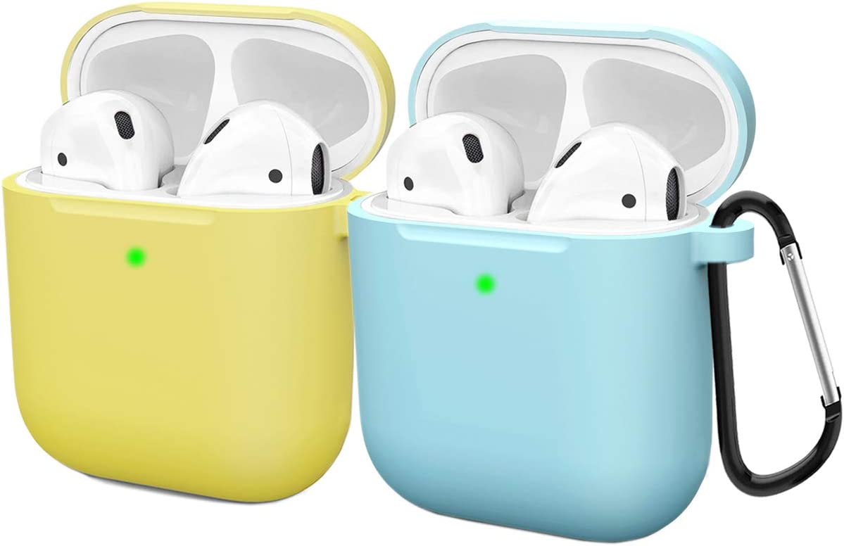 Compatible AirPods Case Cover Silicone Protective Skin for Apple Airpod Case 2&1 (2 Pack) Yellow/Blue