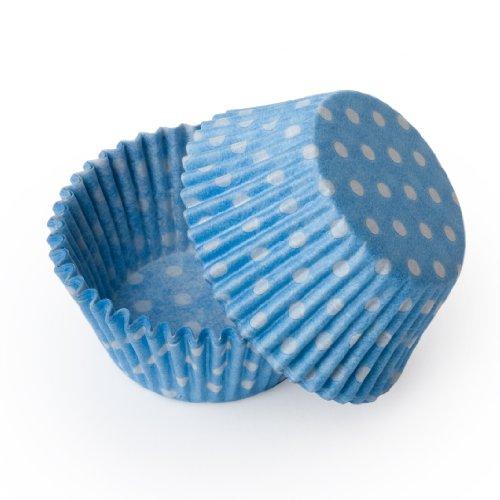 - Dress My Cupcake Mini Light Blue Polka Dot Cupcake Liners
