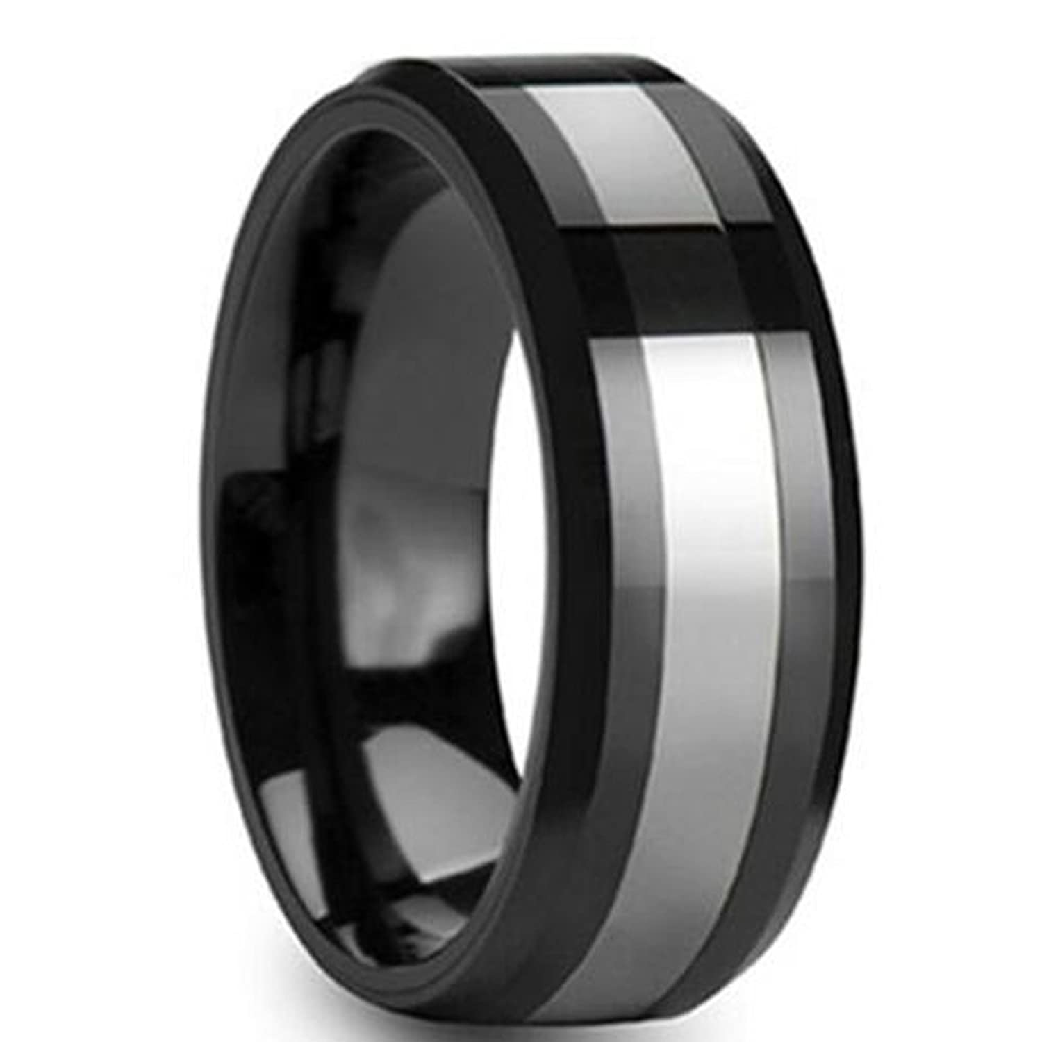 LAMUCH Men 8mm Black Plated Plain Tungsten Carbide Rings Silver Center Wedding Bands