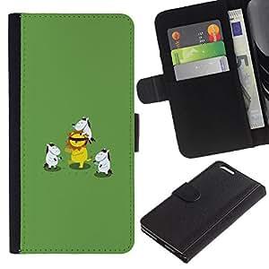 KingStore / Leather Etui en cuir / Apple Iphone 6 PLUS 5.5 / Caballos lindos divertidos Reproducción