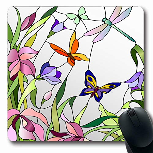 Ahawoso Mousepads for Computers Glass Mosaic Stained Window Flowers Bloom Butterflies Floral Bright Nature Pattern Shape Nouveau Oblong Shape 7.9 x 9.5 Inches Non-Slip Oblong Gaming Mouse Pad