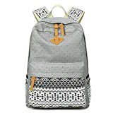 Abshoo Cute Lightweight Canvas Bookbags School Backpacks for Teen Girls (Grey)