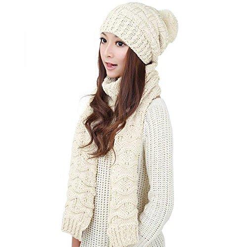 - HANERDUN Women Girls Fashion Winter Warm Knitted Hat Beanie Hat Scarf Set