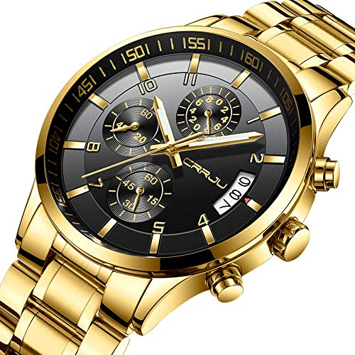 - CRRJU Gold Men's Three-Sub Dial Business Date Stainless Steel Watches,Fashion Sport Quartz Wristwatch for Men