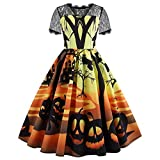 iDWZA Women Halloween Print Laciness Short Sleeve Evening Party Dress Prom Dress(L,Yellow)
