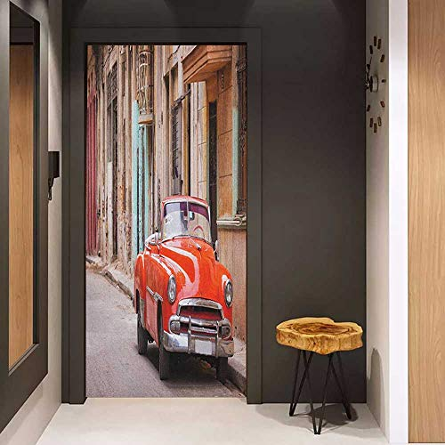 - Door Wall Sticker Cars Classical American Car in a Street with Ancient Houses Caribbeans Havana Cuba Mural Wallpaper W23 x H70 Orange Sand Brown