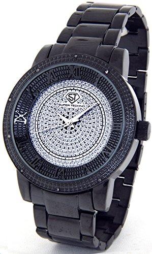 Diamond Watch Mens Genuine Diamond Watch Oversized Black Tone Metal Band w/ 2 Interchangeable Watch Bands