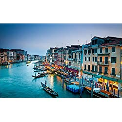 "24"" Landscape Nature Scene Instant City View GRAND CANAL VENICE ITALY DUSK #1 Wall Decal Room Sticker Home Office Art Décor Den Kids Mural Man Cave Graphic SMALL"