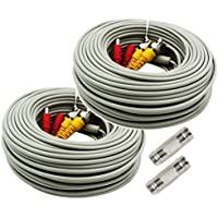 AimHD 2 Pack 100 Feet BNC Cable CCTV Upgrading 1080P Security Camera Video Power Extension In-wall Cords Pre-made BNC / DC Connectors for HD DVR Surveillance System-Grey