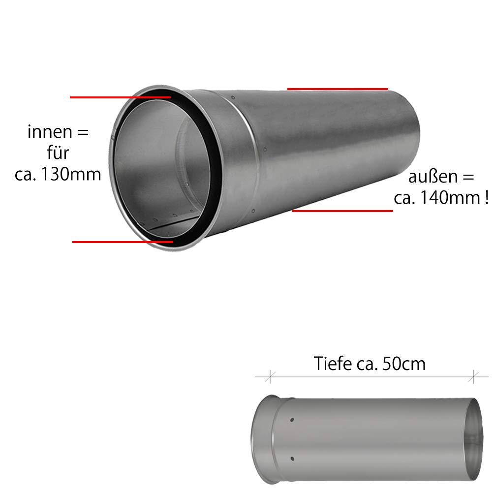 Wandfutter doppelt DN 180 mm Mauer Muffe Rauchrohr Ofenrohr Kamin Stahl Neu