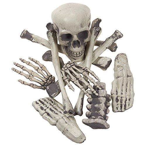 Skull Foam Scary (Halloween Skeleton Bones - Fake Skeleton Prop Figure, Bag of Bones for Halloween Party Decorations, Spooky Haunted House Prop,)