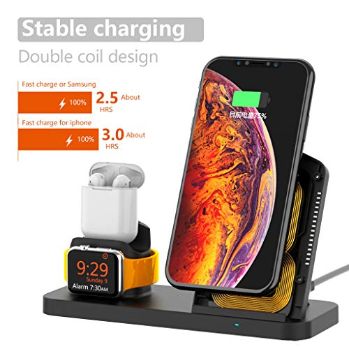 Lovewe Wireless Charger Phone Stand, 3 in1 Wireless Charger Charging Stand Dock Station for iPhone x/xr/xs/xs max/8/8 Plus for Samsung Glaxy S10e/S10/10 Plus (Black)