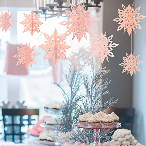 - Get Orange 24PCS 3D Stereoscopic Snowflake Christmas Hanging Christmas Party Decoration String Paper Garland Wedding Birthday Party Baby Shower Background Winter Decorative (Pink)