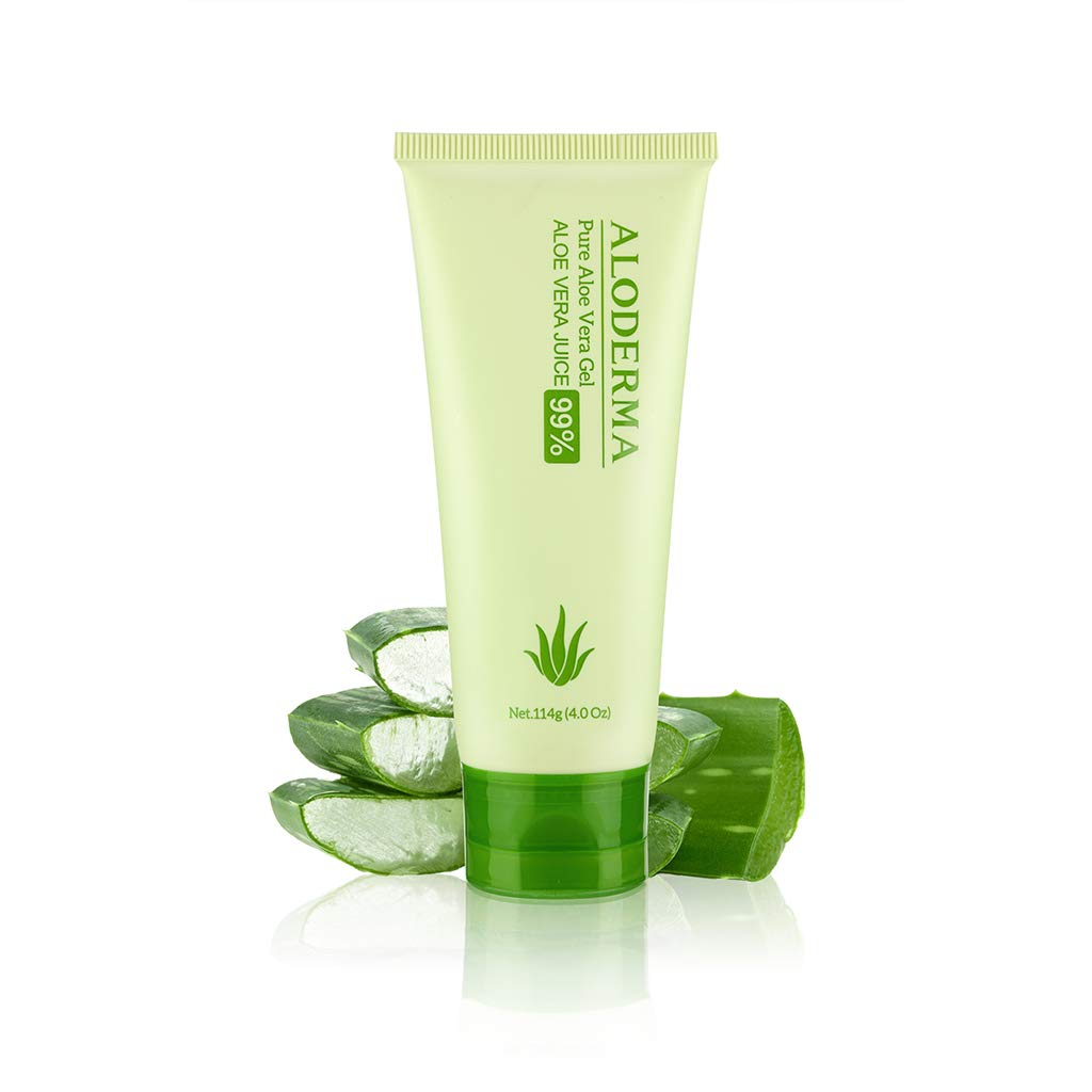 Aloderma Pure Aloe Vera Gel - Soothes and Hydrates Dry, Itchy, or Irritated Skin; great for Acne, Dandruff, Sunburn, Rashes (4 oz) by Aloderma