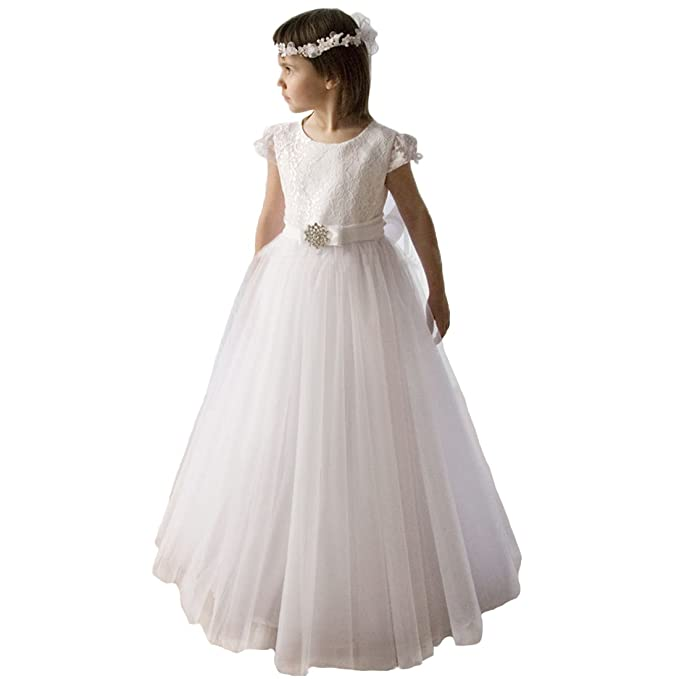 Girls First Communion Dresses Lace Sash 1-12 Year Old Off White Size 2
