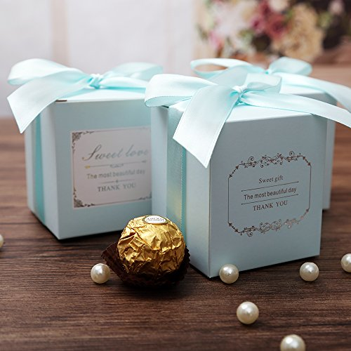 Doris Home 50 pcs Tiffany Blue Birthday Wedding Favor Candy Boxes Bridal Shower Party Paper Gift Box Tiffany Gift Box