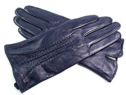 The Leather Emporium Women's Gloves Fur Lined Stripe Detail Slim Fit Large Navy