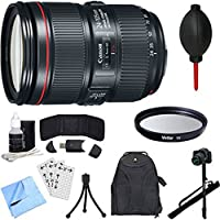 Canon EF 24-105mm f/4L IS II USM Lens, Filter, Monopod, and Accessories Bundle - Includes Lens, 77mm UV Filter, 67 Monopod, Backpack, Dust Blower, Mini Tripod, Card Wallet, Card Reader, and More