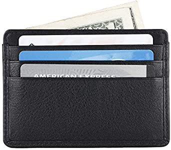 Unisex Genuine Leather Business Credit Card Case Holder Slim Wallet Front Pocket