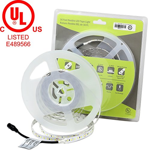TECLED Eco+ Series LED Tape Light/Flexible Strip UL Listed Premium Quality 24v 576x2835SMD LEDs 16ft. 72W(4.5W/ft) Non-Waterproof (Daylight 6000K) CRI>=80% 5 Years Warranty ()
