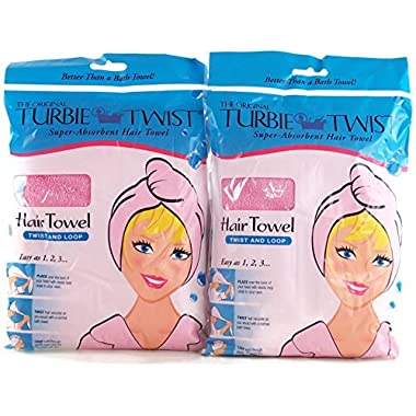 Turbie Twist Microfiber Super Absorbent Hair Towel (2 Pack) Pink-White