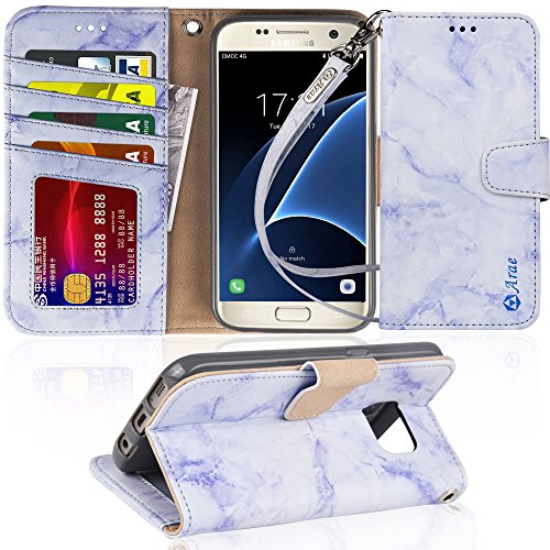 Galaxy s7 Case, Arae [Wrist Strap] Flip Folio [Kickstand Feature] PU Leather Wallet case with ID&Credit Card Pockets for Samsung Galaxy S7 (Not for Galaxy S7 Edge) - Marble Purple