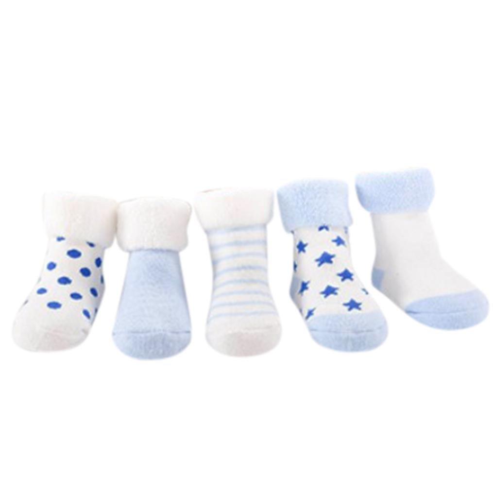 Vovotrade 5 pares Bebé Unisexo Niñito Infantil Niña Chico A rayas Punto Impresión Mezcla de algodón Antideslizante Calcetín 0-2 años