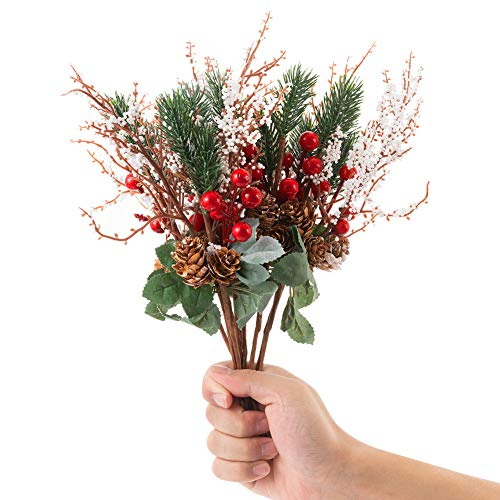 LONGBLE 12Pcs Artificial Red Berries with White Pip Pinecones Holiday Floral Sprays Decorations 12.6 Inches Bendable Stems Christmas Crafts Seasonal Wreaths Centerpieces DIY Party Festive Home Decor (Best Diy Christmas Wreaths)