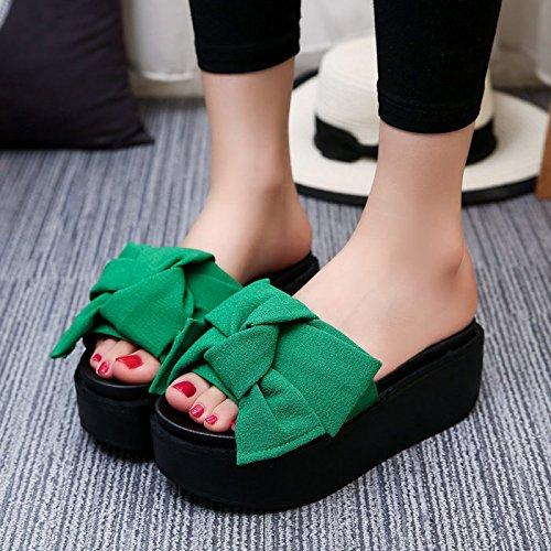Calzado Zapatillas De De De Verano amp;QIUMEI Exterior Gruesas Zapatos Green OME Verano Playa Mujer Sandalias Sandalias Desgaste qnS6vWw5w