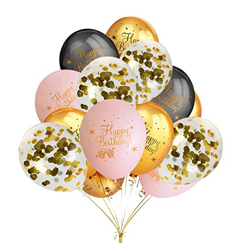 LeeSky Birthday Party Balloons,30Pcs 12 Inches Gold & Black & Blush Pink Color Latex Balloons and 12Pcs 12 Inches Gold Confetti Balloons,Graduation Birthday Bachelorette Party Decoration Supplies