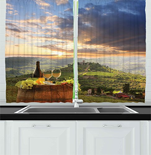 Ambesonne Winery Decor Collection, Vineyard in Chianti Tuscany Italy Autumn Sunrise with Sun Lights Bursting Through Clouds Image, Window Treatments for Kitchen Curtains 2 Panels, 55 X 39 Inches -