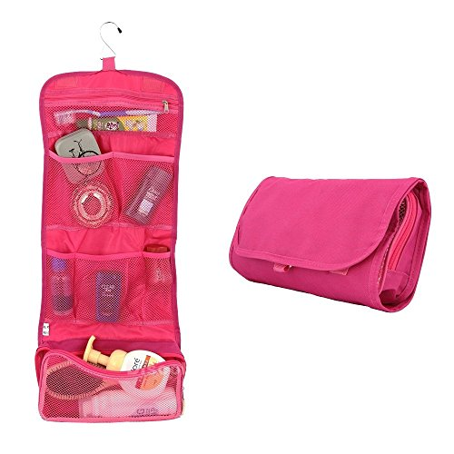 Happy Hours - Multifunction Foldable Hanging Toiletry Bag Cosmetic Organizer Storage / Portable Waterproof Wash Pouch Makeup Case with Hook for Camping, Travel, Household(Rose - Outlet Usa Gucci