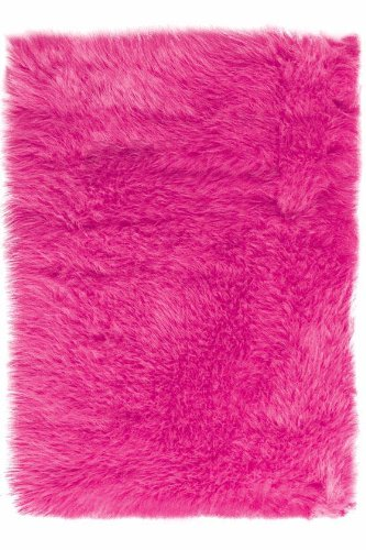"Home Decorators Collection Faux Sheepskin Area Rug, 2'6""X8' Runner, Hot Pink"