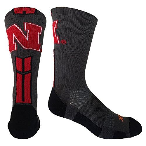 TCK Sports Nebraska Cornhuskers Baseline 3.0 Crew Socks (Graphite/Scarlet/Black, Large) ()