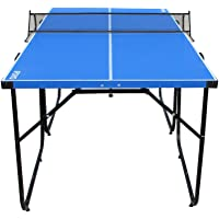 Mesa de ping-pong de IFOYO de 1,8 m, 4 piezas plegables, portátil, para uso en interiores, para adulto y niños en color azul