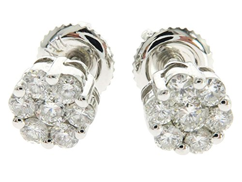 14K White Gold 0.49 Carat Genuine Round Cut Diamond TraxNYC Cluster Stud Earrings by Traxnyc