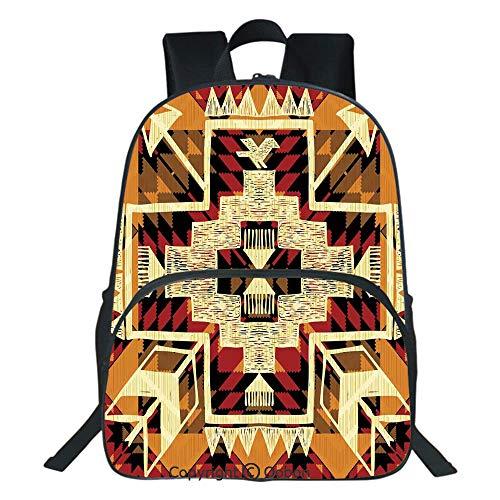 Oobon Kids Toddler School Waterproof 3D Cartoon Backpack, Native American Inspired Retro Aztec Pattern Mod Graphic Design Boho Art Print, Fits 14 Inch Laptop