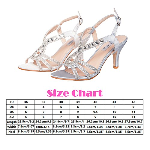 SheSole Women's Rhinestone Sandal Bridal Shoes Silver US 11