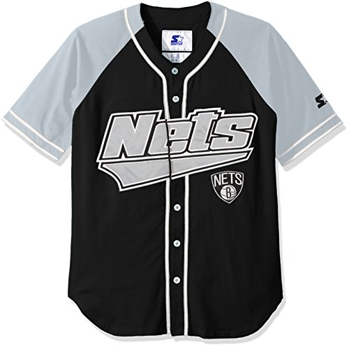 Nets Men's The Player Baseball Jersey, Small, Black ()